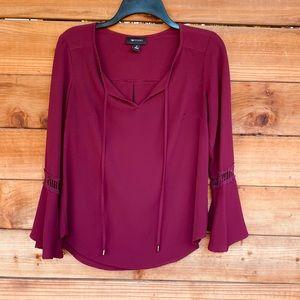 AB Studio burgundy gypsy sleeve front tie blouse